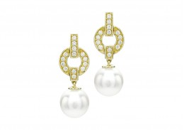 18ct Gold, Pearl & Diamond Earrings