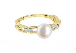 18ct Gold Pearl & Diamond Ring