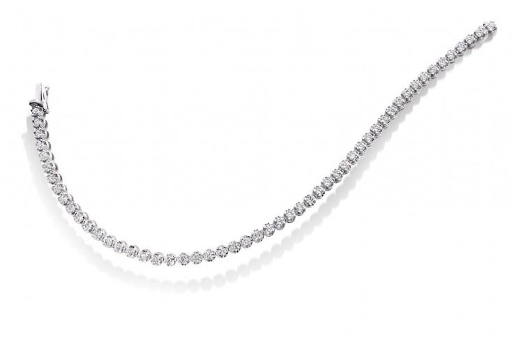 18ct White Gold Round Brilliant Cut Diamond Bracelet 3ct