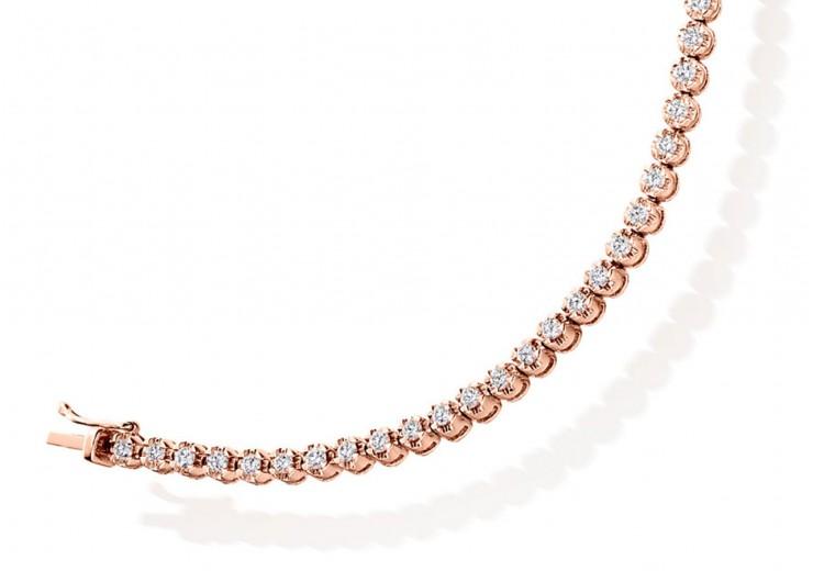 18ct Rose Gold Round Brilliant Cut Diamond Bracelet 2ct