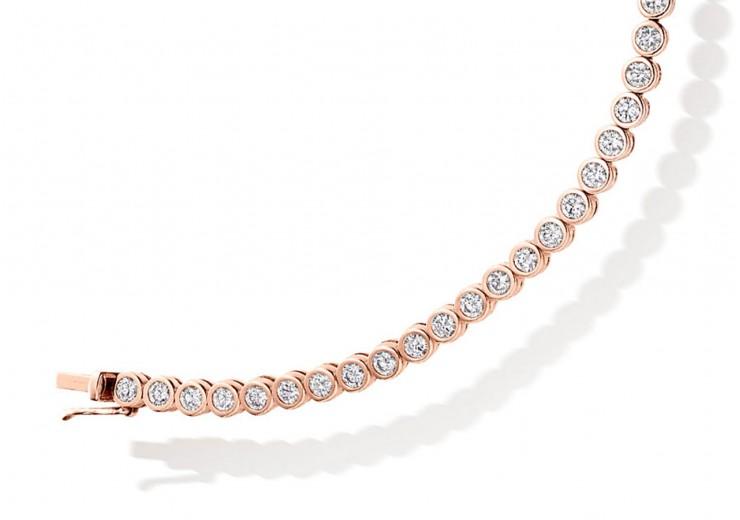 18ct Rose Gold Round Brilliant Cut Diamond Bracelet 3ct