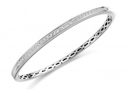 18ct White Gold Princess Cut Diamond Bangle 2ct