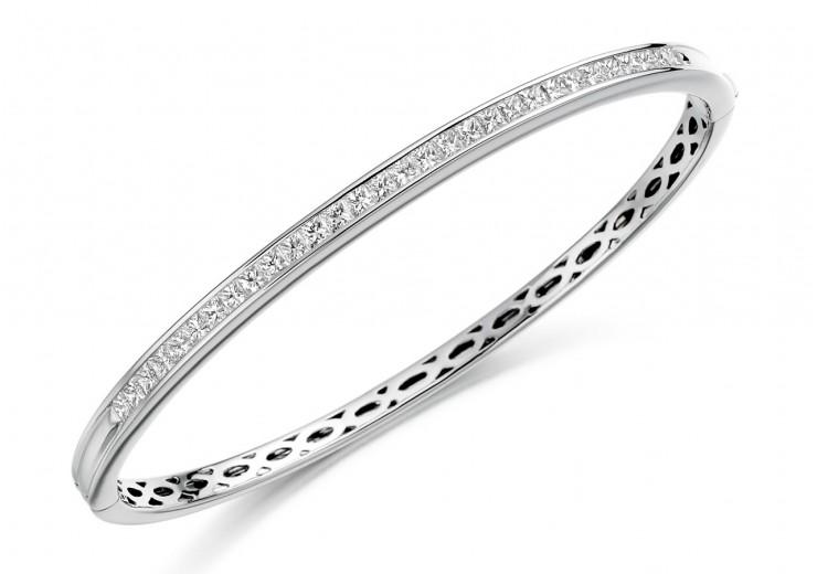 18ct White Gold Princess Cut Diamond Bangle 2ct