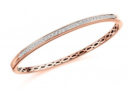 18ct Rose Gold Princess Cut Diamond Bangle 2ct