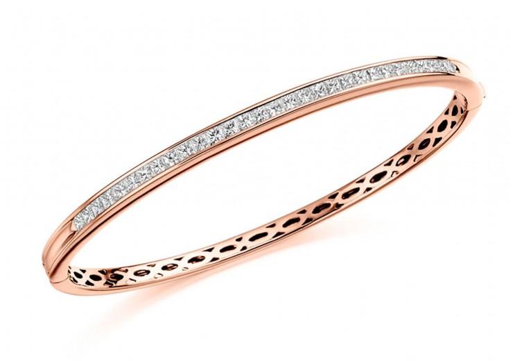 18ct Rose Gold Princess Cut Diamond Bangle 2ct