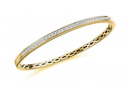 18ct Yellow Gold Princess Cut Diamond Bangle 2ct