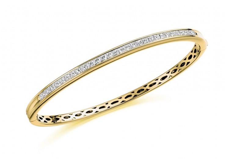 18ct Yellow Gold Princess Cut Diamond Bangle 2ct