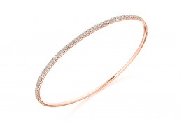 18ct Rose Gold Round Brilliant Cut Diamond Bangle 2.25ct