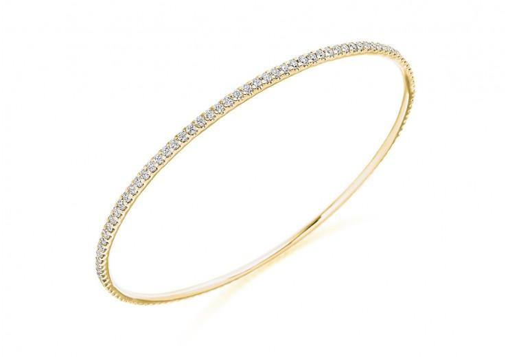 18ct Yellow Gold Round Brilliant Cut Diamond Bangle 2.25ct