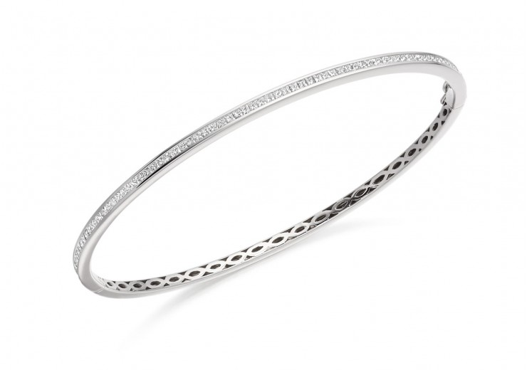 14ct White Gold Princess Cut Diamond Bangle 1ct