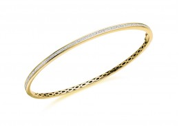 14ct Yellow Gold Princess Cut Diamond Bangle 1ct