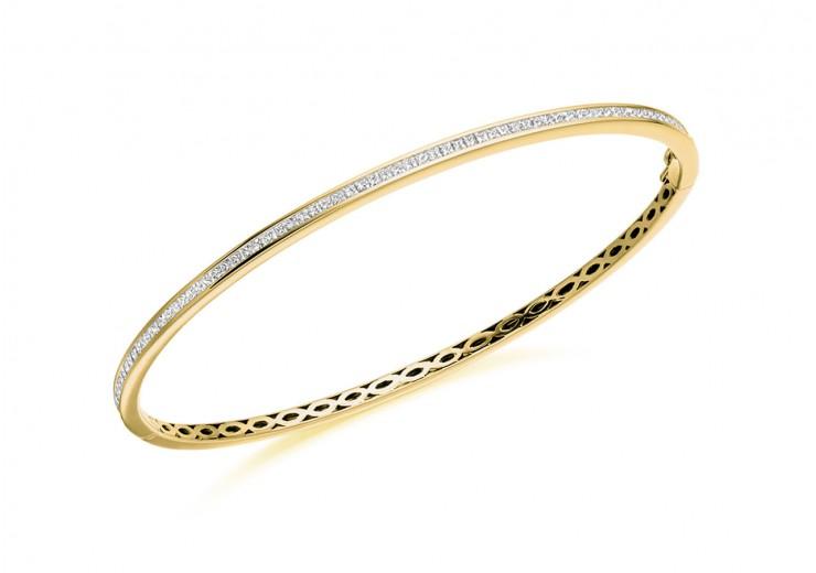 14ct Yellow Gold Princess Cut Diamond Bangle 1ct