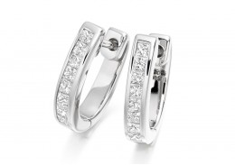 18ct White Gold Princess Cut Diamond Hoops 0.50ct
