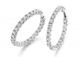 18ct White Gold Round Brilliant Cut Diamond Hoops 1ct