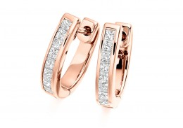 18ct Rose Gold Princess Cut Diamond Hoops 0.50ct