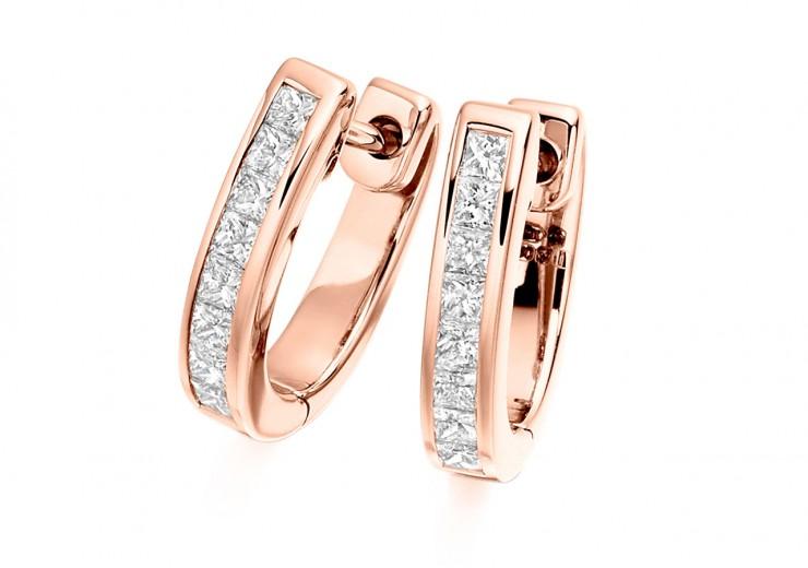 18ct Rose Gold Princess Cut Diamond Hoops 0.50ct