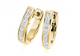 18ct Yellow Gold Princess Cut Diamond Hoops 0.50ct