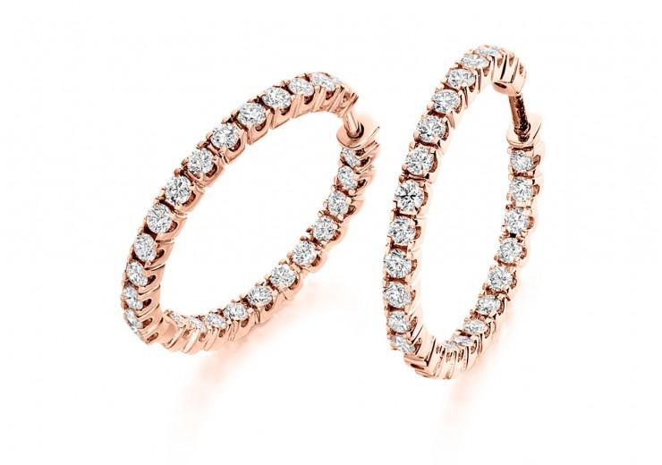 18ct Rose Gold Round Brilliant Cut Diamond Hoops 1ct