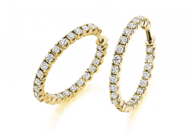 18ct Yellow Gold Round Brilliant Cut Diamond Hoops 1ct