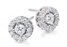 18ct White Gold Round Brilliant Cut Diamond Halo Stud Earrings 1ct