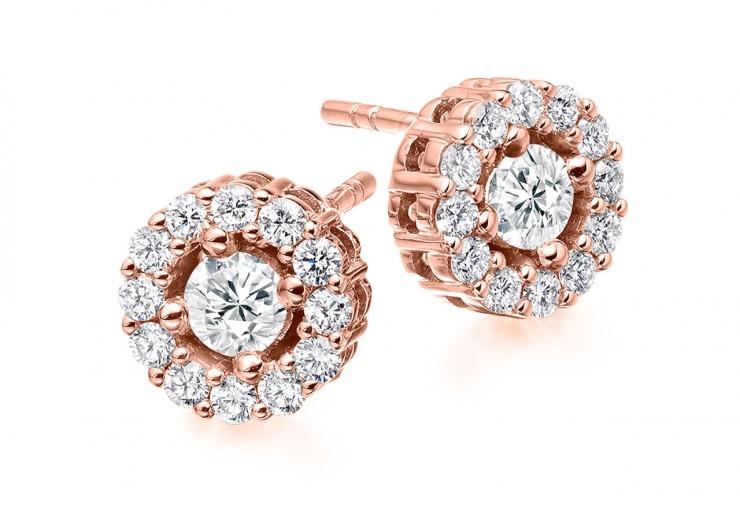 18ct Rose Gold Round Brilliant Cut Diamond Halo Stud Earrings 1ct