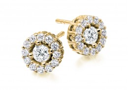 18ct Yellow Gold Round Brilliant Cut Diamond Halo Stud Earrings 1ct