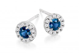 18ct White Gold Sapphire & Diamond Stud Earrings 0.90ct