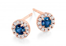 18ct Rose Gold Sapphire & Diamond Stud Earrings 0.90ct
