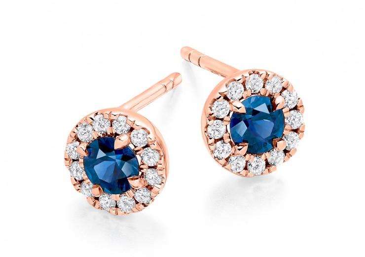 18ct Rose Gold Sapphire & Diamond Stud Earrings 0.90ct