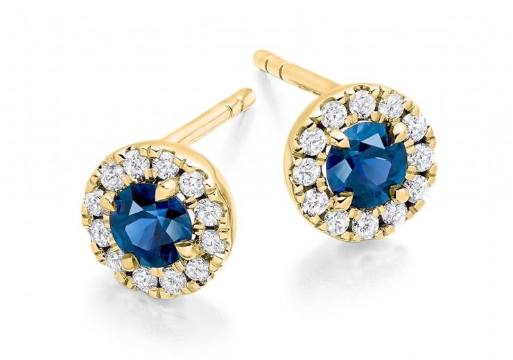 18ct Yellow Gold Sapphire & Diamond Stud Earrings 0.90ct
