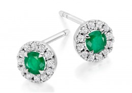 18ct White Gold Emerald & Diamond Stud Earrings 0.77ct