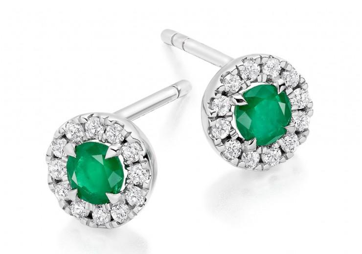 18ct White Gold Emerald & Diamond Stud Earrings 0.77ct