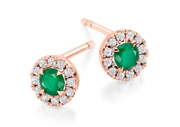 18ct Rose Gold Emerald & Diamond Stud Earrings 0.77ct