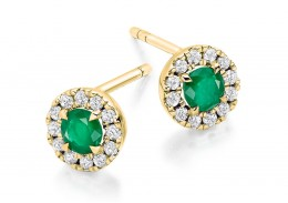 18ct Yellow Gold Emerald & Diamond Stud Earrings 0.77ct
