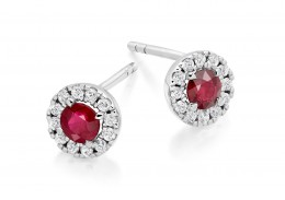 18ct White Gold Ruby & Diamond Stud Earrings 0.98ct