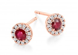 18ct Rose Gold Ruby & Diamond Stud Earrings 0.98ct