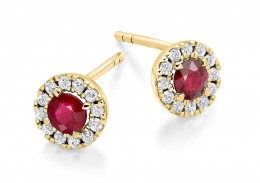 18ct Yellow Gold Ruby & Diamond Stud Earrings 0.98ct