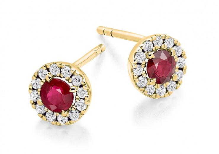 18ct Yellow Gold Ruby & Diamond Stud Earrings 0.98ct