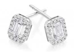18ct White Gold Emerald Cut Diamond Earrings 0.70ct