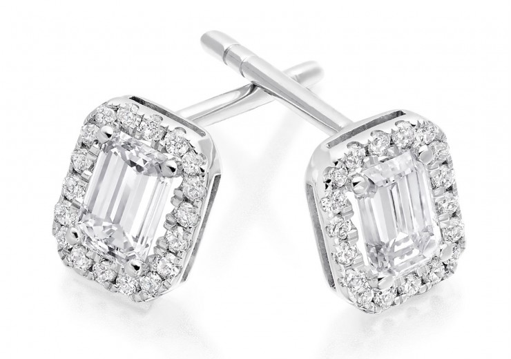 18ct White Gold Emerald Cut Diamond Earrings 0.70ct