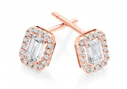 18ct Rose Gold Emerald Cut Diamond Earrings 0.70ct
