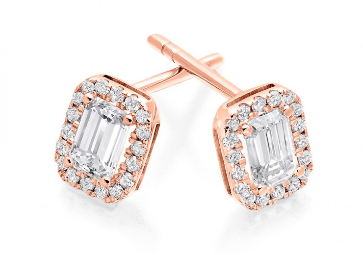18ct Rose Gold Emerald Cut Diamond Earrings 0.70ct