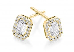 18ct Yellow Gold Emerald Cut Diamond Earrings 0.70ct