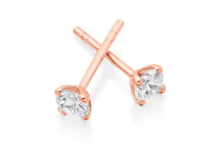 18ct Rose Gold Round Brilliant Cut Diamond Stud Earrings 0.50ct