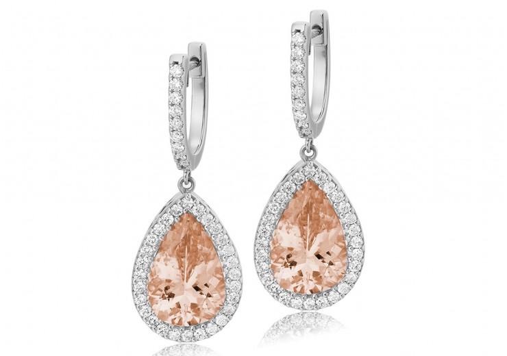18ct White Gold Morganite & Diamond Drop Earrings 8.90ct