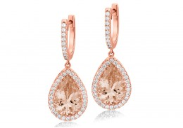 18ct Rose Gold Morganite & Diamond Drop Earrings 8.90ct