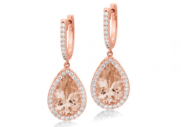 18ct Rose Gold Morganite & Diamond Drop Earrings 8.90ct