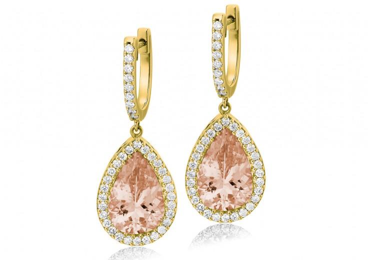 18ct Yellow Gold Morganite & Diamond Drop Earrings 8.90ct