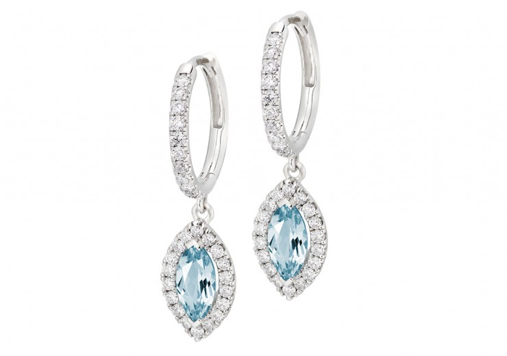 18ct White Gold Aquamarine & Diamond Drop Earrings 1.90ct
