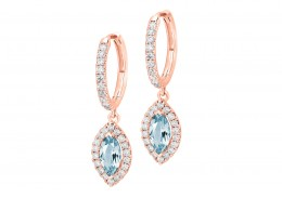 18ct Rose Gold Aquamarine & Diamond Drop Earrings 1.90ct